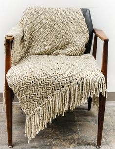 """Knitting Pattern for Chunky Herringbone Blanket - Finished blanket measures aproximately 35"""" x 60"""" (measured blocked, without fringe). Quick knit in super bulky yarn. Designed by LaReserveDesign"""
