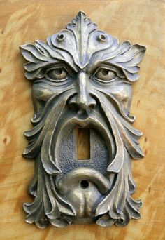 Light Switch Plate -Green Man-limited edition--vintage style hardware-cold cast bronze, copper or iron