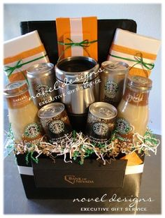 DIY Coffee Lover's Gift…Fill a basket with coffee drinks, coffee, chocolates, … – Gift Basket Ideas Diy Gift Baskets, Raffle Baskets, Basket Gift, Coffee Gift Baskets, Fundraiser Baskets, Homemade Gift Baskets, Theme Baskets, Themed Gift Baskets, Coffee Lover Gifts