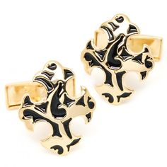 Classic two-color pattern of fine gold and Black plating cufflinks