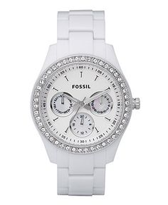 Fossil Watch, Women's Stella White Resin Bracelet 37mm ES1967 - All Watches - Jewelry & Watches - Macy's