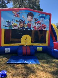 Paw Patrol Medium Slide Combo Jumping Castle. Perfect for your backyard party and an addition to your Paw patrol themed party. Visit our website to see more theme options. #partyhiresydney #inflatablehire #jumpingcastle #funtimepartyhire