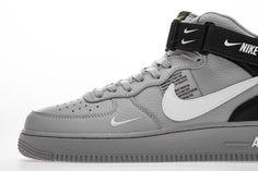 Nike Air Force 1 Mid LV8 GS 'Overbranding' Cool Glray AV3803 001 - Hookicks Nike Air Force, Air Force 1 Mid, Yeezy 350 V2 Black, New Nike Air, Jordan 4, Air Jordans, Sneakers Nike, Shoes, Nike Basketball Shoes