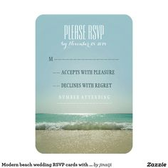 Modern beach wedding RSVP cards with blue sea