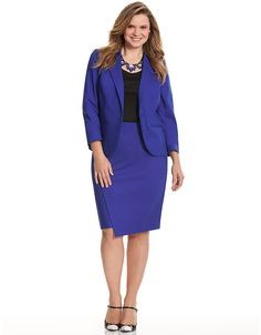 A perfect Peggy Carter ensemble!   Cobalt plus-size blazer and pencil skirt from Lane Bryant