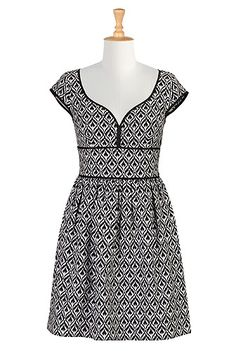 I <3 this Graphic jacquard banded waist dress from eShakti