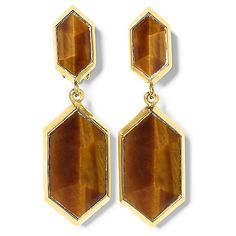 Vince Camuto Tiger'S Eye Double Drop Clip Earrings ($78) ❤ liked on Polyvore featuring jewelry, earrings, goldt semiprecious stone, vince camuto earrings, vince camuto, tiger eye earrings, vince camuto jewelry and drop clip earrings