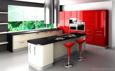 A red kitchen!