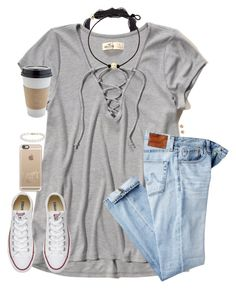 """""""In California with my toes in the sand🏖"""" by southernstruttin ❤ liked on Polyvore featuring Hollister Co., AG Adriano Goldschmied, Converse, Casetify, Bloomingdale's and Blue Nile"""