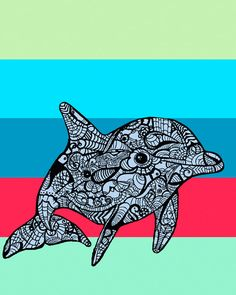 Dolphin++Art+Print++Zentangle++Bottlenose+Dolphin++by+MayhemHere,+$15.00