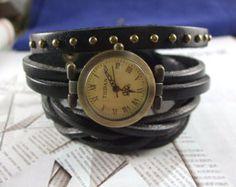 Rivets bracelet watch jewelry vintage style black leather band watch fashion men watches women watch