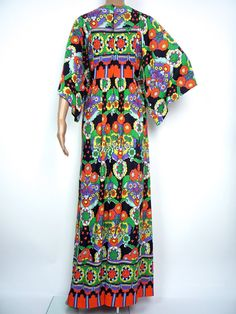 Stunning 70s Kimono Sleeve Rainbow Maxi Dress by HuzzarHuzzar, £45.00