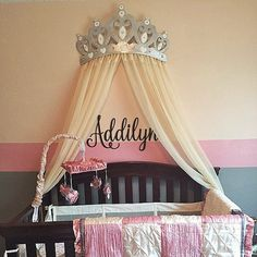 Bed Canopy Crown Wall Decor In Silver With White Sheer Panels And Choice Of Rhinestone Accent
