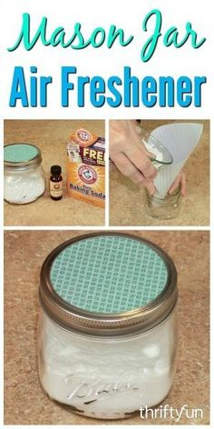 This is a guide about Mason jar air freshener. An inexpensive room deodorizer can easily be made in an attractive canning jar. This is a guide about Mason jar air freshener. An inexpensive room deodorizer can easily be made in an attractive canning jar. Mason Jar Projects, Mason Jar Crafts, Mason Jar Diy, Bottle Crafts, Diy Projects, Uses For Mason Jars, Mason Jar Bathroom, Apartment Projects, Diy Deodorant