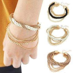 Luxury Handmade Gold Chain Bracelet For Women 2015 Vintage Bracelets & Bangles Jewelry Brand Multilayer Rope