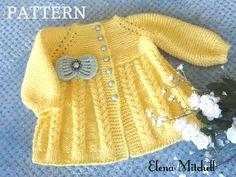 Trudy Nicholls on Etsy Cardigan Bebe, Knitted Baby Cardigan, Knit Baby Sweaters, Baby Hats Knitting, Motifs Beanie, Knit Beanie Pattern, Sweater Knitting Patterns, Pattern Baby, Crochet Baby Dress Pattern