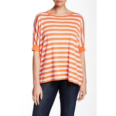 Autumn Cashmere Short Sleeve Boxy Tee ($90) ❤ liked on Polyvore featuring tops, t-shirts, striped t shirt, red stripe tee, crewneck tee, red top ve stripe tee