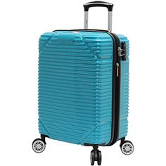 lucas troy hard case carry on 20 expandable luggage with spinner wheels teal Cheap Luggage, Luggage Sale, Luggage Online, Hard Case Luggage Sets, Best Travel Luggage, Samsonite Luggage, Checked Luggage, Troy, Travel Style