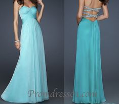 Elegant sweetheart strapless backless blue green chiffon modest long prom dress for teens, ball gown, evening dress #promdress #prom2015