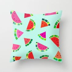 Watermelons Print Throw Pillow by House of Jennifer - $20.00