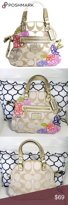 🎀COACH coach poppy Daisy applique🎀 COACH coach poppy Daisy applique fold Crossbody 2-WAY handbag F22323 In gold tone is missing the strap in perfect condition like new check pics 0156714876 Coach Bags Satchels