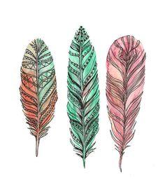 мило, рисунки, перья, хипстер, краска, пастель, эскиз, винтаж