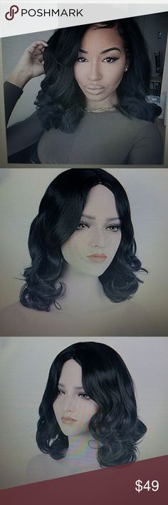 Black Synthetic Bodywave Wig Medium cap , black           ligb1386 Accessories Hair Accessories