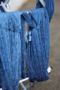 Wool dyed with natural indigo.