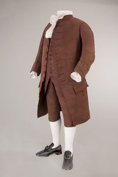 The suit, including a coat, waistcoat and breeches, is more than 230 years old and although it is structurally sound, the fabric's dye is extremely fragile. The dye, originally a plum color, is turning into more of a light brown and conservators can see that it is puckering and flaking in places. The museum is developing a conservation plan based on research on these areas to determine how best to continue to preserve the suit.
