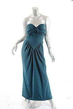 OSCAR de la RENTA Vintage Hunter Green Rayon Strapless Ruch Gown w/Bustier - US8 #OscardelaRenta #Strapless #Formal