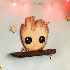 "Wooden shelf ""Baby Groot"" - Mara E. Baby Groot, Wooden Shelves, Wall Shelves, Book Shelves, Diy Kids Furniture, Book Furniture, Wooden Furniture, Furniture Dolly, Painting Furniture"