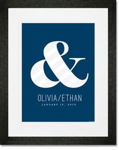"""Ampersand - Navy"" Personalized Typography Art Prints by Stacy Amoo-Mensah for  Greenbox Art + Culture, Unframed prints: $29 - $99, Matted + Framed: $199"