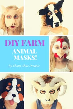 Super cute, fun and easy to make kids masks for farm animal parties or dress up days.