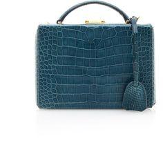 Mark Cross Blue Crocodile Grace Box (1.092.885 RUB) ❤ liked on Polyvore featuring bags, handbags, shoulder bags, man bag, handbags purses, crocodile handbags, croc shoulder bag and crocodile shoulder bag