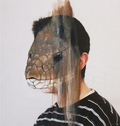 """Serpent"" Portraits by French Artist Charlotte Caron. Animal Masks, Animal Heads, Charlotte Caron, Exquisite Corpse, Snake Art, A Level Art, Level 3, Gcse Art, Art Themes"