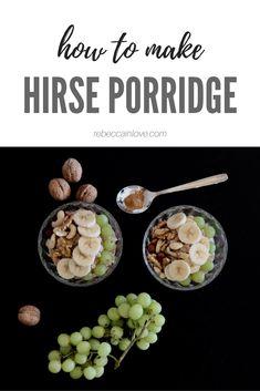 Hirse Porridge - ein gesundes und ausgewogenes Frühstück für jeden Tag. Rezept auf meinem Blog! Schaut vorbei und hinterlasst mir ein Kommentar, wie es geschmeckt hat. Cereal, Eggs, Breakfast, Blog, How To Make, Clean Foods, Health, Recipies, Morning Coffee