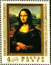 Mona Lisa Gioconda on Postal Stamps
