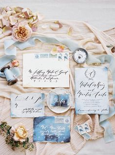 Beautiful vintage watercolor inspired wedding paper suite:  http://www.stylemepretty.com/california-weddings/los-angeles/2016/08/18/urban-photo-shoot-in-los-angeles/  Photography: Luna de Mare - http://lunademarephotography.com/
