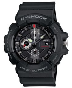 Casio Men's G-Shock Black Resin Analog Chronograph Watch. chronograph Date display. Water resistant to 660 feet M): suitable for recreational scuba diving. Men's Watches, G Shock Watches Mens, G Shock Men, Wrist Watches, Luxury Watches, Jewelry Watches, Casio G-shock, Casio Watch, G Shock Protection
