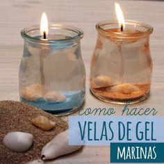 Os hemos ido enseñando a hacer velas de parafina, pero creo que no os hemos enseñado a hacer velas de gel, así que nos hemos puesto manos a la obra para ense... Gel Candles, Candle Lanterns, Candle Jars, Candle Holders, Summer Crafts, Diy And Crafts, Velas Diy, Chandeliers, Homemade Candles