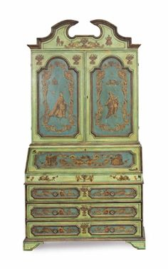 A Venetian 'Lacca Povera' Polychrome-Painted Bureau Cabinet, Early 20th Century.