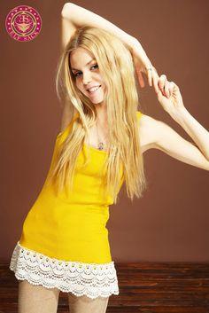 #Womens Lace Hem Cotton Yellow Camisoles  Women's Vests #2dayslook #fashion #Vests www.2dayslook.com