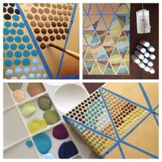 DIY Paint Project >> all it takes is a blank canvas, gold spray paint, tape, acrylic paints, a brush, and some patience to create this geometric pattern painting.: