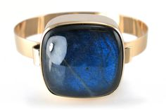#forsale > Kaunis Koru/Kalevala Koru (FI), yellow gold bangle bracelet with spectrolite, 1973. #finland | finlandjewelry.com