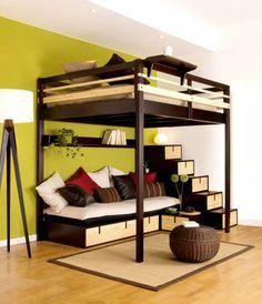 Chambre à coucher-  103 Grandes idées - chambre-à-coucher-lit-mezzanine