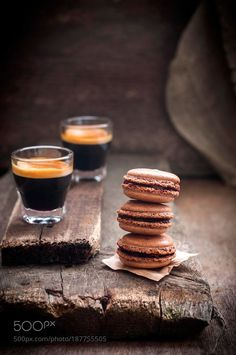 Chocolate macarons and espresso by Irina_Meliukh