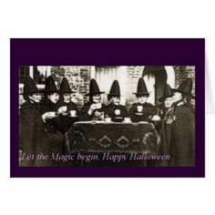Let The Magic Begin Happy Halloween Witches Card - Halloween happyhalloween festival party holiday