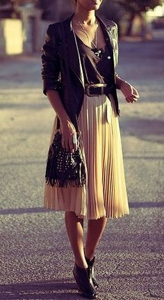Pleated skirts + leather.