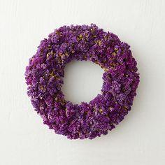 "Dried Purple Statice Wreath, 12"" in House + Home Wreaths at Terrain"