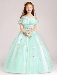 10b8c808790 Contrast Mesh Stereo Flowers Party Princess Long Dress. Cute Little Girl ...